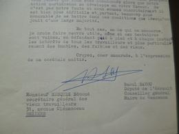 LAS Autographe Raoul Bayou Député Assemblée Nationale Maire Cessenon Conseiller Saint Chinian 20/02/1961 - Autographes