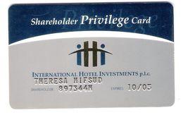 Malta - Malte - Shareholder Privilege Card - International Hotel Investments - Membership Card - No Phonecard - Malta