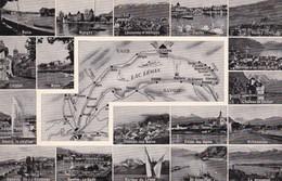 Postcard Map Lac Leman Vaud Savoie Lausanne Geneve Evian Multiview My Ref  B11944 - Maps