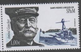 ST. PIERRE ET MIQUELON, 2015,MNH, ADMIRAL GAUCHET, SHIPS, BATTLESHIPS,1v - Ships