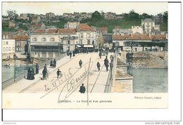 CORBEIL LE PONT ET VUE GENERALE CPA COULEUR 1916 BON ETAT - Corbeil Essonnes