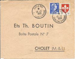 Cachet Convoyeur BAR LE DUC à CHALON S/ MARNE 13 JAN. 1959. (N°28) - Marcophilie (Lettres)