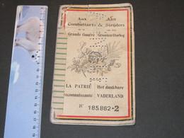 CARNET EPARGNE AUX COMBATTANTS DE LA GRANDE GUERRE LA PATRIE RECONNAISSANTE  VERCRUYSEN GEORGES GAND 1920 - 1914-18