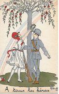 Militaria - Illustrateur - JACQUELINE DUCHE - SUPERBE CARTE POSTALE PATRIOTIQUE EN PARFAIT ETAT - A TOUS LES HEROS - - Patriotiques