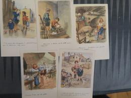 TI - Illustrateur Signé POULBOT  - Lot De 5 Cartes Ligue Nationale Contre Le Taudis - Poulbot, F.