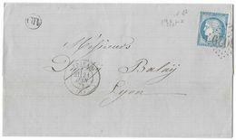LETTRE Avec N°60/1 ; 1 A2  1er état TTB - 1871-1875 Cérès
