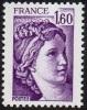 France Sabine De Gandon N° 2060  ** Le 1.60 Fr. Violet - 1977-81 Sabine Of Gandon
