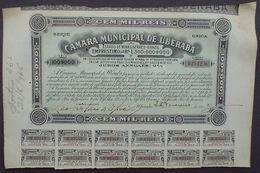 Brazil Camara Municipal De Uberaba Cem Mil Reis 1923 Uncancelled + Coupons - Mines