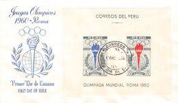 PERÚ - FDC 1961 OLYMPICS ROMA MINISHEET Mi #BLOCK 5 - Peru