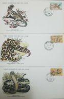 L) 1979 LESOTHO, SNAKE, REPTILES, WILD ANIMALS, IGUANA, NATURE, FAUNA, WORLD WILDLIFE FUND, FDC, SET OF 3 - Lesotho (1966-...)