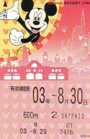 Carte Prépayée Japon  (1555b)  DISNEY * 600  * MICKEY MOUSE * JAPAN * PREPAID CARD - Disney