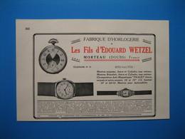 (1929) Fabrique D'Horlogerie Les Fils D'ÉDOUARD WETZEL à Morteau (Doubs)  --  Cuivreries Artistiques J. GONZALEZ à Paris - Non Classificati