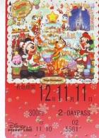 Carte Prépayée Japon  (1555g)  DISNEY * 800  * CHRISTMAS * MICKEY & MINNIE *  JAPAN PREPAID CARD - Disney