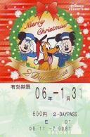 Carte Prépayée Japon * RESORT LINE (1555h)  DISNEY * 600  * CHRISTMAS * MICKEY & MINNIE *  JAPAN PREPAID CARD - Disney