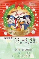 Carte Prépayée Japon * RESORT LINE (1555i)  DISNEY * 800  * CHRISTMAS * MICKEY & MINNIE *  JAPAN PREPAID CARD - Disney