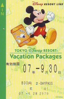 Carte Prépayée Japon * TOKYO DISNEY * RESORT LINE (1556c)  MICKEY MOUSE * 800 * JAPAN PREPAID CARD - Disney