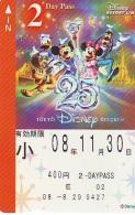 Carte Prépayée Japon * TOKYO DISNEY * RESORT LINE (1564) MICKEY MINNIE DONALD DUCK * 400  2-daypass * JAPAN PREPAID CARD - Disney