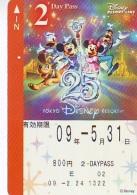 Carte Prépayée Japon * TOKYO DISNEY * RESORT LINE (1569) MICKEY MINNIE DONALD DUCK * 800  2-daypass * JAPAN PREPAID CARD - Disney