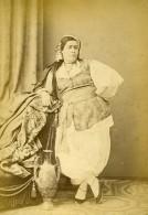 Algeria Mauresque Femme Portrait Ancienne Photo Carte Cabinet Geiser 1880 - Africa