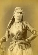Algerie Portrait De Femme Mauresque Ancienne Photo Carte Cabinet Geiser 1880 - Africa
