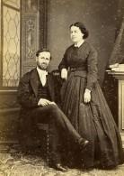France Beauvais Couple Marié De Nayville Ancienne Photo Carte Cabinet Herbert 1870's - Old (before 1900)
