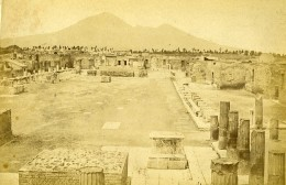Italie Pompei Ruines Panorama Ancienne Photo Carte Cabinet Coen 1865 - Old (before 1900)