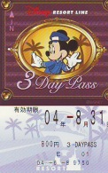 Carte Prépayée Japon * DISNEY * RESORT LINE (1572) MICKEY * 800  3-daypass * JAPAN PREPAID CARD - Disney