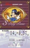 Carte Prépayée Japon * DISNEY * RESORT LINE (1573) MICKEY * 800  3-daypass * JAPAN PREPAID CARD - Disney