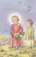 Andachtsbild Kinder Mit Lamm - 4*6,5cm  (33093) - Andachtsbilder
