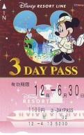 Carte Prépayée Japon * DISNEY * RESORT LINE (1578) MICKEY * 1100  3-daypass ADULT * JAPAN PREPAID CARD - Disney