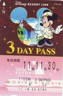 Carte Prépayée Japon * DISNEY * RESORT LINE (1579) MICKEY * 1100  3-daypass ADULT * JAPAN PREPAID CARD - Disney