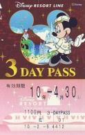 Carte Prépayée Japon * DISNEY * RESORT LINE (1580) MICKEY * 1100  3-daypass ADULT * JAPAN PREPAID CARD - Disney