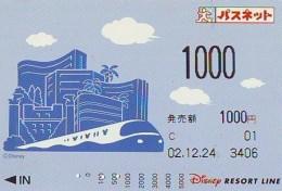 Carte Prépayée Japon * DISNEY * RESORT LINE (1585) * 1000  1-daypass  * JAPAN PREPAID CARD - Disney