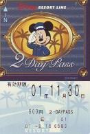 Carte Prépayée Japon * DISNEY * RESORT LINE (1593) * 600  * 2-DAY PASS * JAPAN PREPAID CARD - Disney