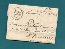 Loire Inférieure -  Guérande Pour Nantes. LAC De 1828 - Marcophilie (Lettres)