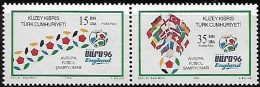 Cyprus Chypre (Turkey)  R.T.C.N.  1996 Euro'96 Football Angleterre Ballons Drapeaux, 2 Val Setenant Mnh - UEFA European Championship