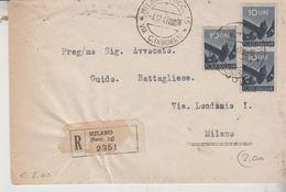 REPUBBLICA TERZINA DEMOCRATICA LIRE 10 RACC. ANNULLO MILANO VIA C. IMBONATI 1947 - 6. 1946-.. Repubblica