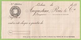 Lisboa - Cheque Do Banco Augustine, Reis & Cª - Numismática - Papéis De Valor - Numismatic - Cheques & Traveler's Cheques