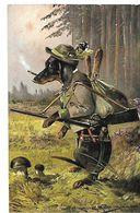MULLER ILLUSTRATEUR CHASSE CHIEN HUMANISE HABILLE TECKEL CHASSEUR FUMEUR Champignons Lapin Dans Le Sac 1912 CPA 2 SCANS - Illustrateurs & Photographes