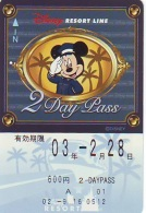 Carte Prépayée Japon * DISNEY * RESORT LINE (1596) * 600  * 2-DAY PASS * JAPAN PREPAID CARD - Disney