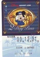 Carte Prépayée Japon * DISNEY * RESORT LINE (1598) * 600  * 2-DAY PASS * JAPAN PREPAID CARD - Disney
