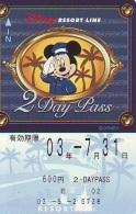 Carte Prépayée Japon * DISNEY * RESORT LINE (1599) * 600  * 2-DAY PASS * JAPAN PREPAID CARD - Disney