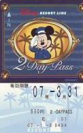 Carte Prépayée Japon * DISNEY * RESORT LINE (1602) * 600  * 2-DAY PASS * JAPAN PREPAID CARD - Disney