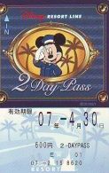 Carte Prépayée Japon * DISNEY * RESORT LINE (1604) * 600  * 2-DAY PASS * JAPAN PREPAID CARD - Disney