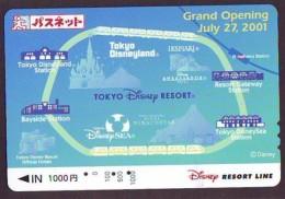Carte Prépayée Japon * DISNEY * RESORT LINE (1609) * 1000  * 1-DAY PASS * TRAIN * JAPAN PREPAID CARD - Disney
