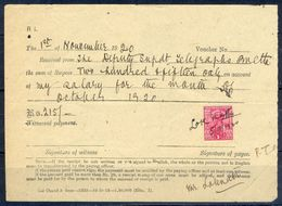 A89- British India King George V 1Anna Revenue Stamp Used In Document Year 1920. - British Indian Ocean Territory (BIOT)