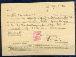 A94- British India King George V 1Anna Revenue Stamp Used In Document Year 1920. - British Indian Ocean Territory (BIOT)