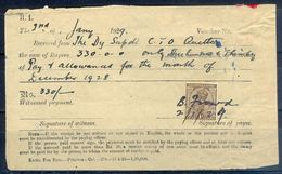 A95- British India King George V 1Anna Revenue Stamp Used In Document Year 1929. - British Indian Ocean Territory (BIOT)
