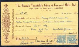 A91- Pakistan  One Anna Revenue Stamp Used In Document Year 1952. - Pakistan