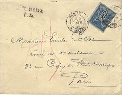 """1881- Env. Affr. 15 C Sage Oblit. PARIS R. SERPENTE   """" AFFR. INSUFF. P.25 """"  + Taxe 15 Crayon Rouge - Marcophilie (Lettres)"""